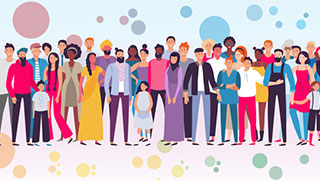 Illustration of a diverse community with different age group and ethnic and religious backgrounds.